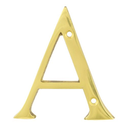 Face Fix Door Letters - Polished Brass